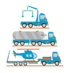 cartoon transport set tow truck tank car lorry vector image