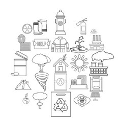Catastrophic event icons set outline style vector