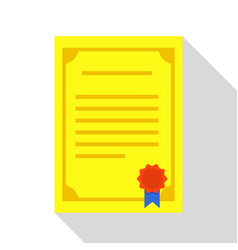 Certificate icon flat style vector