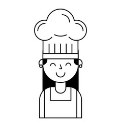 Chef girl portrait with hat vector