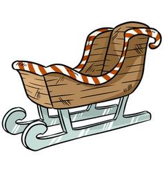 Christmas sleigh sticker doodle vector
