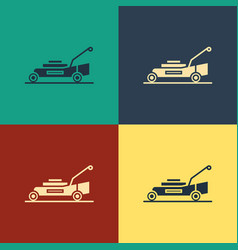 Color lawn mower icon isolated on color background vector