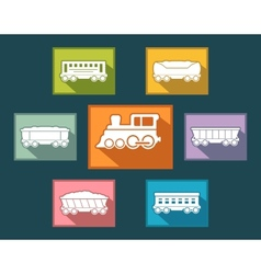 colorful rail road icons set vector image