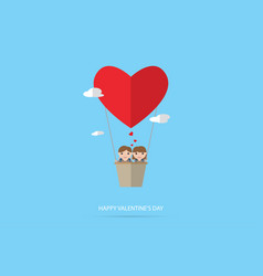 Couple with heart air balloon valentine concept vector