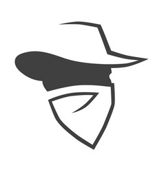 Cowboy outlaw head symbol on white backdrop vector