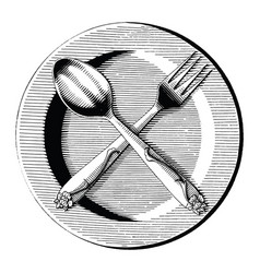 Cross spoon and fork on dish hand draw vintage vector