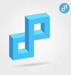 Cubic 3d p abstract letter vector image
