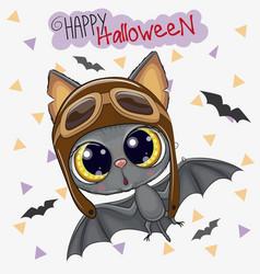Cute bat in a pilot hat vector