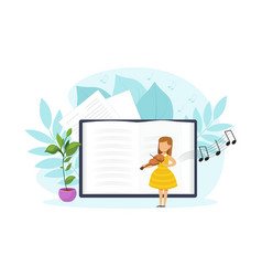 Cute tiny girl playing violin in musical class vector