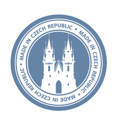 czech travel stamp with prague symbol - church of vector image