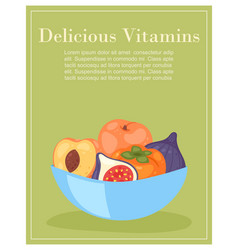 delicious vitamins bowl with tropical fruits vector image