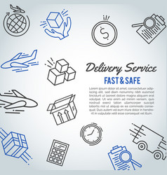 Delivery line icon bussiness brochure shipment vector