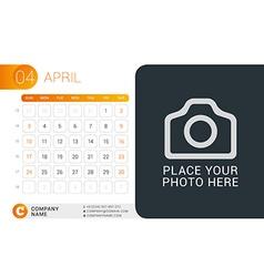 Desk Calendar for 2016 Year April Design Print vector image