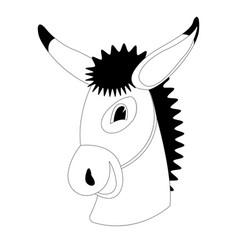 donkey cartoon face lining draw vector image