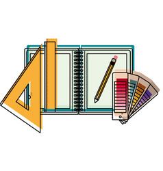 drawing tools and notebook in watercolor vector image