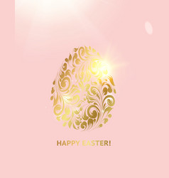 easter egg with pink background happy easter card vector image