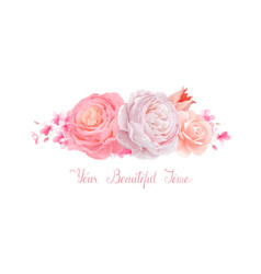 elegance flowers bouquet color roses and tulip vector image