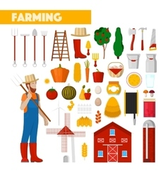 Farmer with Farming Equipment vector