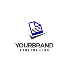 file document check mark logo design concept vector image