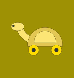 flat icon on background kids toy turtle vector image