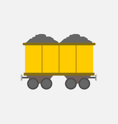 flat style yellow mining transport train graphic vector image