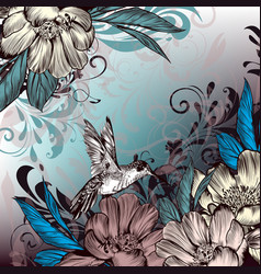 floral with flowers and hummingbird vector image