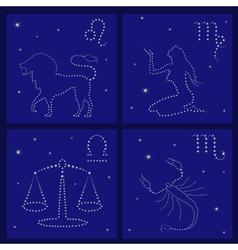 Four Zodiac signs Leo Virgo Libra Scorpio vector