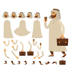 funny business animated arabian character arab vector image