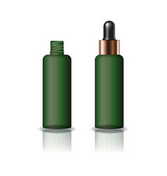 Green clear cosmetic round bottle with dropper lid vector