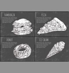 hamburger fastfood poster vector image