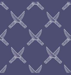 hand drawn crossed knives seamless pattern vector image
