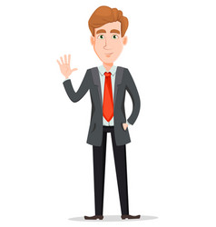 Handsome businessman in suit waving hand vector