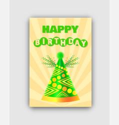 happy birthday postcard color vector image