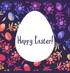 happy egg with grass and flower for happy easter vector image