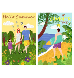 Hello summer family and male seaside surfer vector