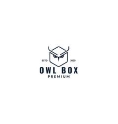 Hexagonal owl line modern logo design vector