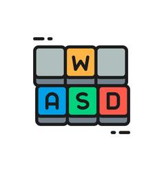 Hotkeys game keyboard flat color line icon vector