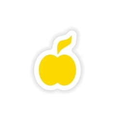 Icon sticker realistic design on paper apple vector