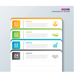 Infographics tab in horizontal paper index with 4 vector