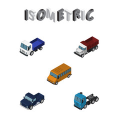 isometric automobile set of suv freight autobus vector image
