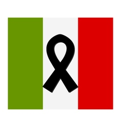 Italy flag with mourning ribbon vector