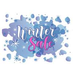 Lettering of winter sale in white and pink vector