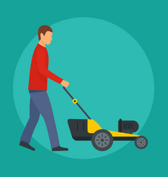 man cut the grass icon flat style vector image