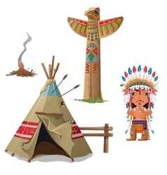 Man wigwam bird totem and fire Indian set vector