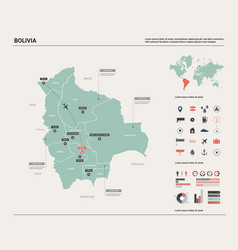 Map bolivia high detailed country vector