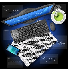 market graph on computer and phone with newspaper vector image
