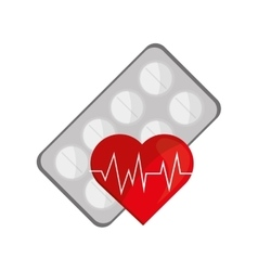 Medicine tablets and heart cardiogram icon vector