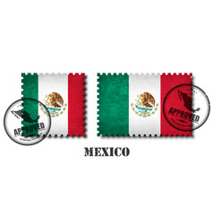 Mexico or mexican flag pattern postage stamp vector