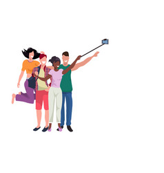 mix race people group taking selfie photo with vector image