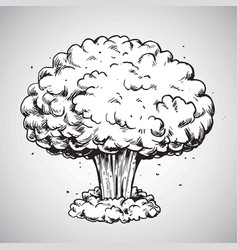 Nuclear explosion mushroom cloud drawing vector